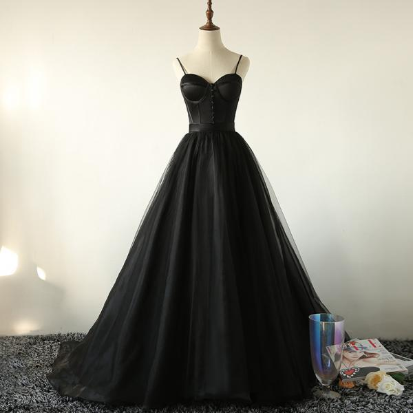 Black Straps Evening Gown, Sexy Sweetheart Black Prom Dress 2020