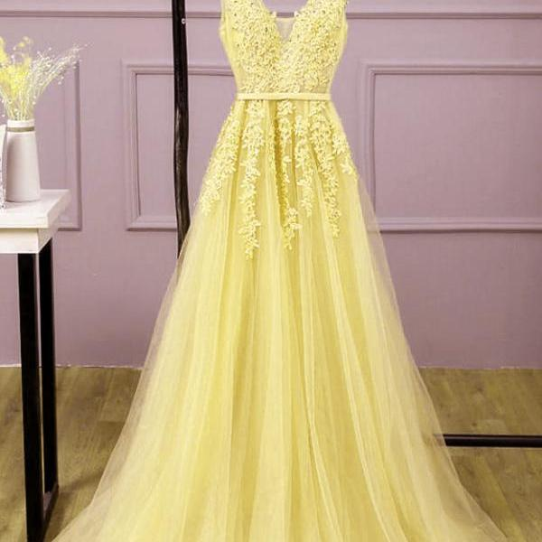 Beautiful Yellow Long Formal Gown, A-line Tulle Yellow Prom Dresses 2020