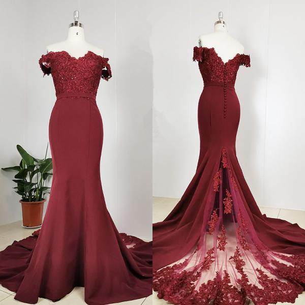 Gorgeous Dark Red Sweetheart Lace Applique Party Dress, Bridesmaid Dress
