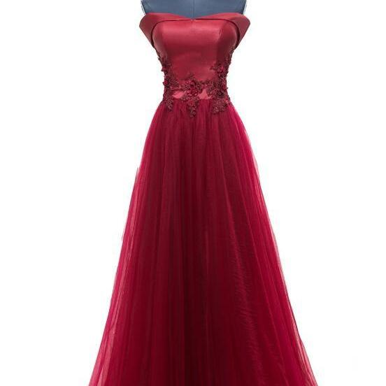 Wine Red A-line Off Shoulder Evening Gown, Tulle Prom Dress