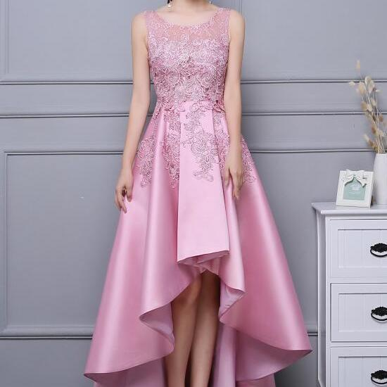 Pink Lace and Satin Party Dress, Round Neckline Homecoming Dress