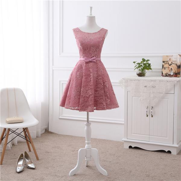 Beautiful Pink Lace Knee Length Round Neckline Homecoming Dress, Lace Short Party Dress