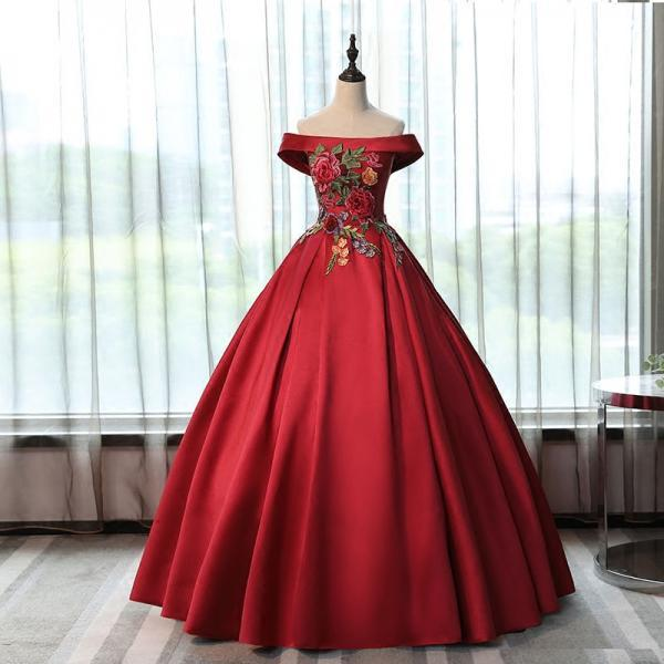 Red Satin Long Off Shoulder Party Dress, Ball Gown Long Sweet 16 Dress