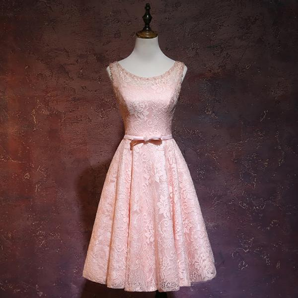 Pink Lace Short Round Neckline Bridesmiad Dress, Pink Party Dress