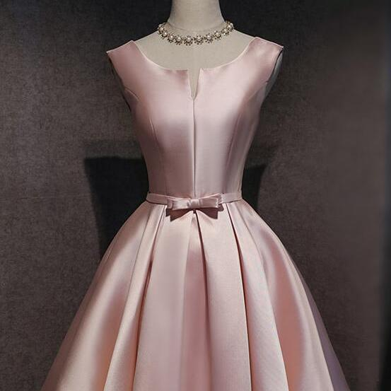 Pink Satin Cute Knee Length Party Dress, Pink Homecoming Dress Graduation Dress