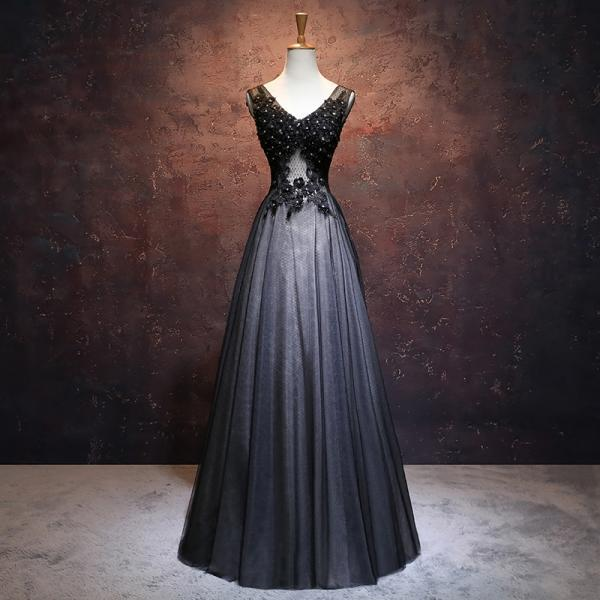 Black Tulle V-neckline Long New Prom Dress, Black Party Dress