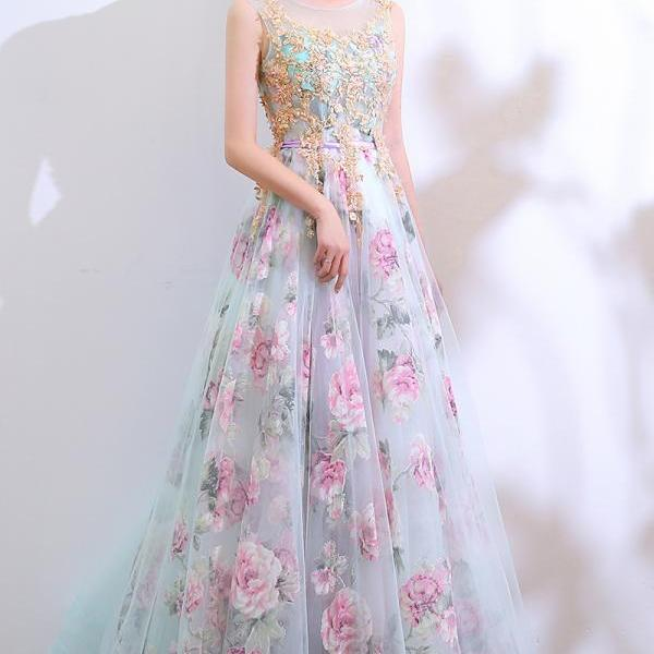 Elegant Round Neckline A-line Party Dress, Tulle and Floral Lace Long Evening Dress