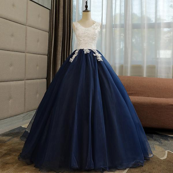 Beautiful Navy Blue Ball Gown Sweet 16 Dress with White Top, Long Formal Dress