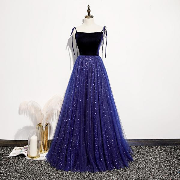 Blue Tulle and Velvet Straps Long Party Dress, Blue Prom Dress