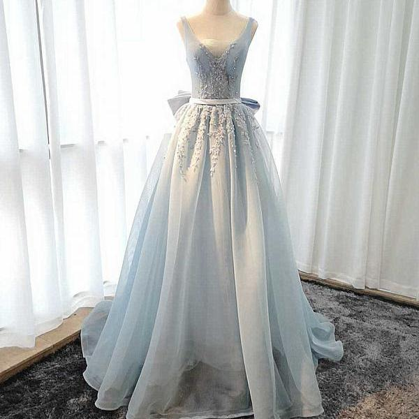 Beautiful Blue Tulle V-neckline Long Party Dress, Blue Prom Dress Evening Dress