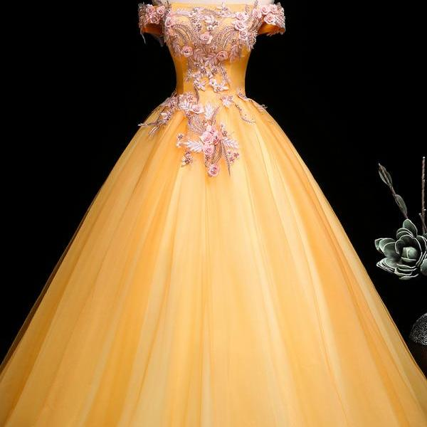 Beautiful Light Yellow Tulle Ball Gown Off Shoulder Sweet 16 Dress, Yellow Prom Dress