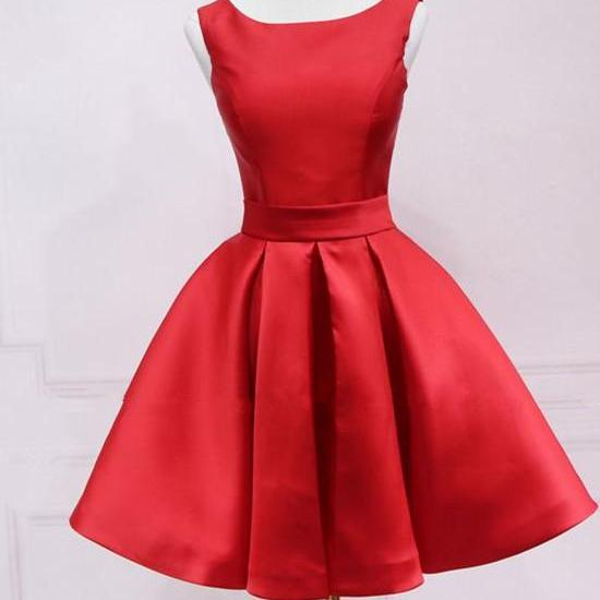 Cute Red Satin Knee Length Party Dress, Red Homecoming Dress