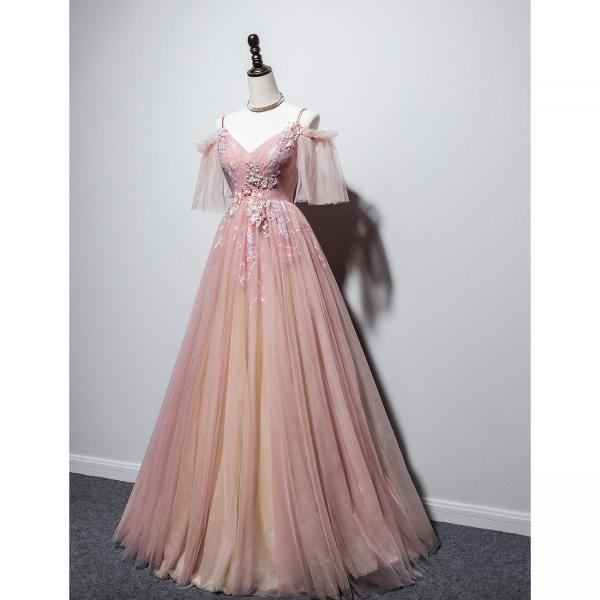 Beautiful Pink Straps V-neckline Tulle Floral Prom Dress, Pink Floor Length Party Dress