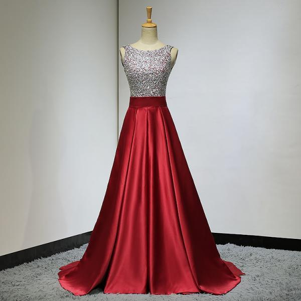 Beautiful Handmade Red Satin Long Prom Dress, A-line Sequins Evening Gown