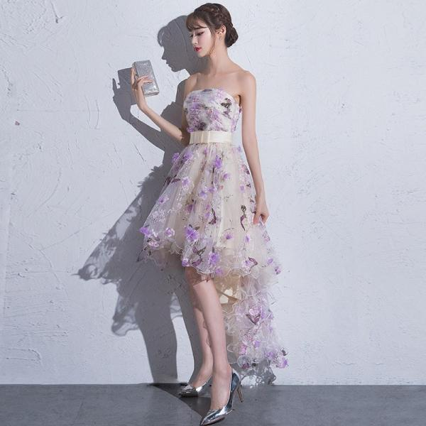 Cute Short Tulle High Low Homecoming Dress, Lovely Flowers Prom Dress