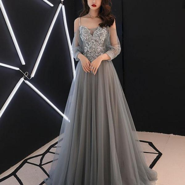 Fashionable Grey Sweetheart Long Prom Dress, A-line Floor Length Evening Gown