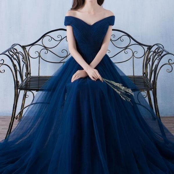 Navy Blue Floor Length Simple Tulle Junior Prom Dress, Blue Party Dress