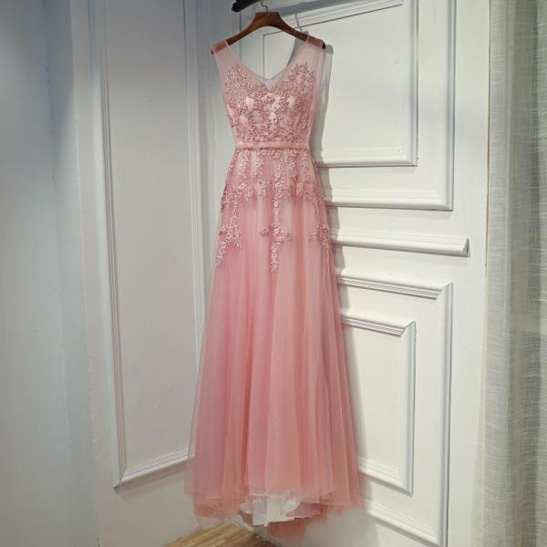 Pink Long Tulle V-neckline Party Dress, Fashionable Pink Prom Dress