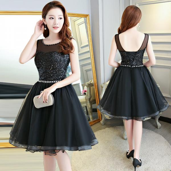 Black Tulle and Sequins Short Party Dress, Lovely Formal Dress Homecoming Dress