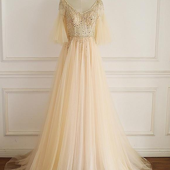 Gorgeous Tulle Champagne Prom Dress with Beadings, A-line Long Formal Gown