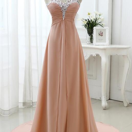 Beautiful Pink Beaded Sweetheart Chiffon Long Formal Dress, Pink Junior Prom Dress