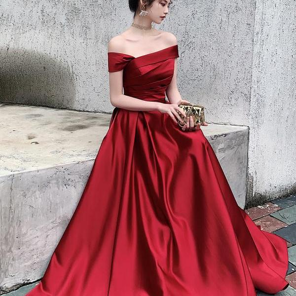 Dark Red Satin Fashionable Long Prom Dress, A-line Floor Lenth Formal Dress
