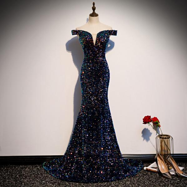 Charming Sequins Mermaid Long Formal Gown, Blue Sparkle Long Party Dress