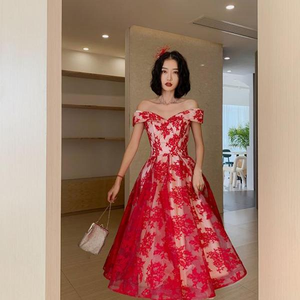 Charming Red Lace Tea Length Party Dress, Sweetheart Off Shoulder Prom Dress