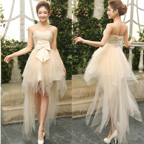 Lovely High Low Lace and Tulle Party Dress, Light Champagne Prom Dress