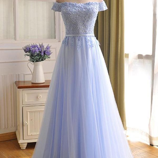 Charming Light Blue Tulle Wedding Party Dress, Long Bridesmaid Dress