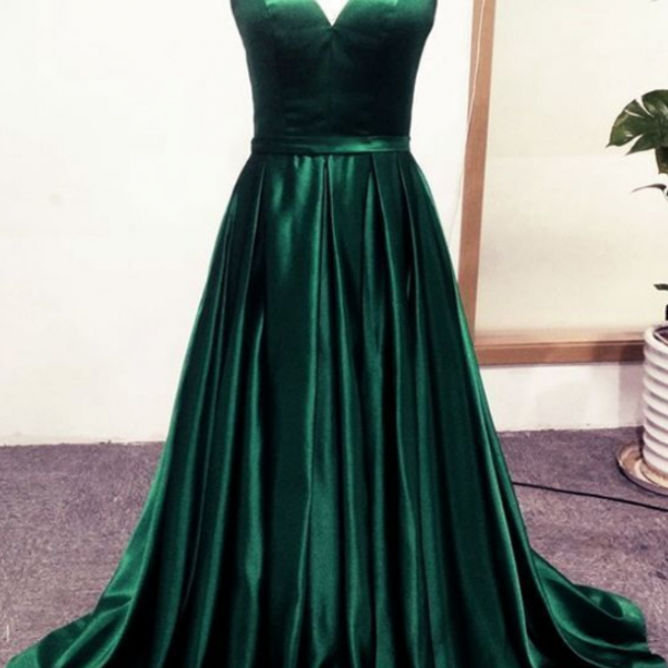 Beatufiul Dark Green Stain Long Sweetheart Party Dress, Green Long Prom Dress