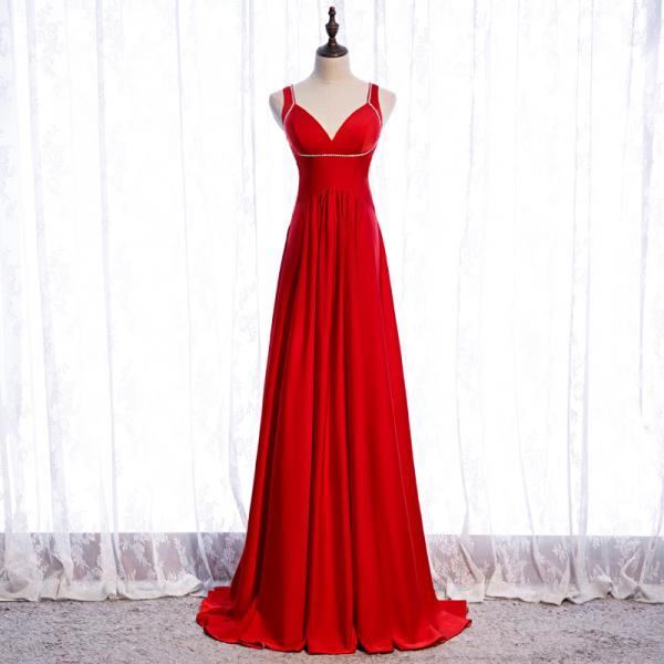 Red Satin Long Sexy Backless Long Straps Formal Dress, Red Prom Dress 2021