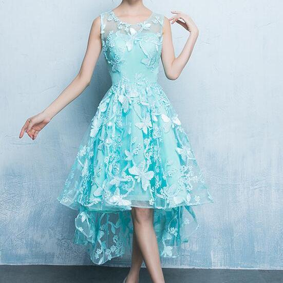 High Low Lace Mint Green Round Neckline Party Dress, Lace Prom Dress 2021
