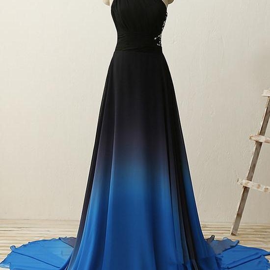 Charming Gradient Blue Beaded Chiffon Prom Dress, Blue Long Party Dress