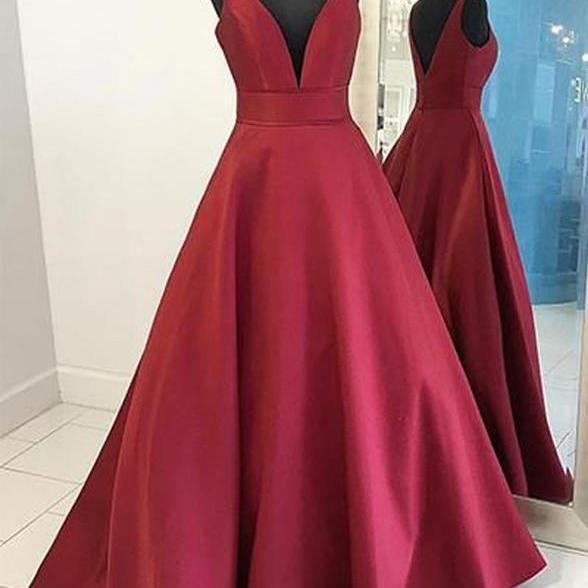Dark Red Satin Deep V-neckline Long Prom Dress, Burgundy Party Dress Evening Dress