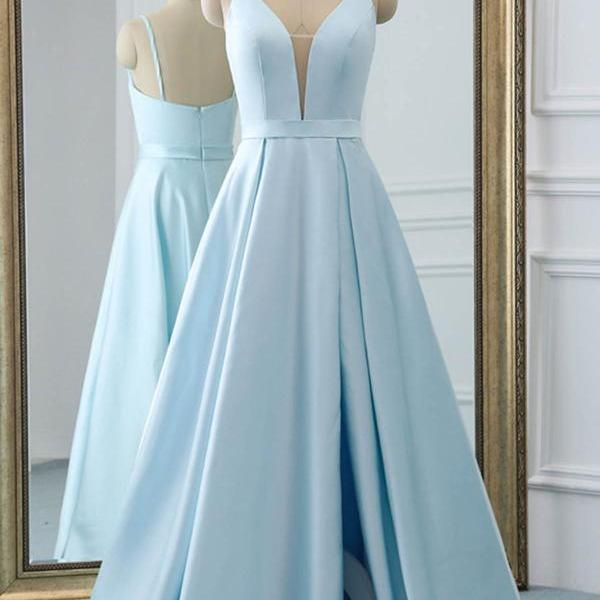 Light Blue Satin Simple Floor Length Prom Dress with Slit, Straps Long Formal Dress