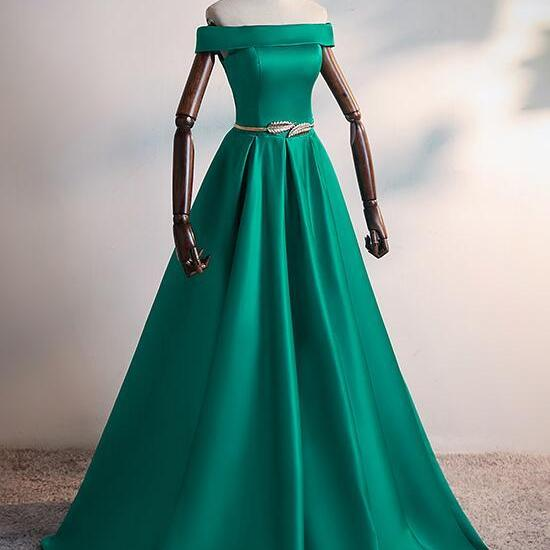 Green Satin Simple Off Shoulder New Style Prom Dress, Long Formal Dress