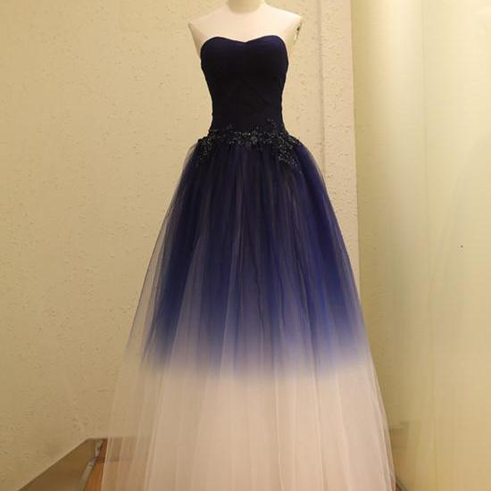 Beautiful Sweetheart Gradient Long Prom Dress, Lace-up Formal Dress Party Dress