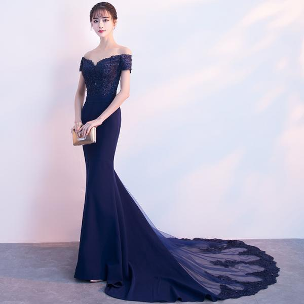 Navy Blue Spandex Mermaid Off Shoulder Prom Dress with Lace, Blue Evening Dress Formal Dress