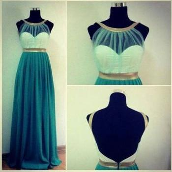 Custom Made Green And Light Gold Round Neckline Backless Prom Dresses, Long Prom Dresses, Dresses for Prom, Formal Dresses, Green Prom Dresses