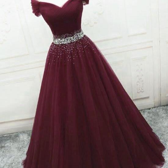 Burgundy Sequins Tulle Fashionable Tulle Long Party Dress, Off Shoulder Formal Dress