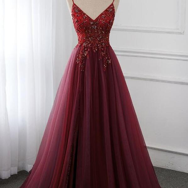 Beautiful Burgundy Long Tulle V-neckline Beaded Junior Prom Dress, Dark Red Party Dress