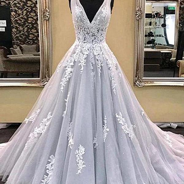 Charming Light Gray Lace Prom Dresses, Silver Grey Lace Formal Evening Dresses