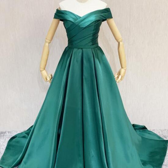 Green Off Shoulder Satin Sweetheart Long Formal Dress, A-line Green Wedding Party Dress