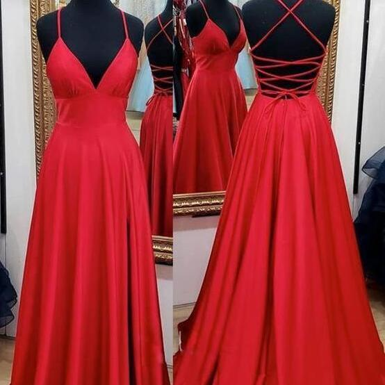 Red V-neckline Straps Backless Prom Dress with Leg Slit, A-line Red Party Dress Evening Dress