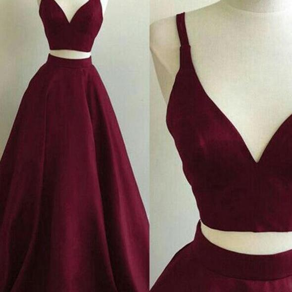 Two Piece Wine Red Satin V-neckline Long Party Dress, Two Piece Formal Dress Evening Dress