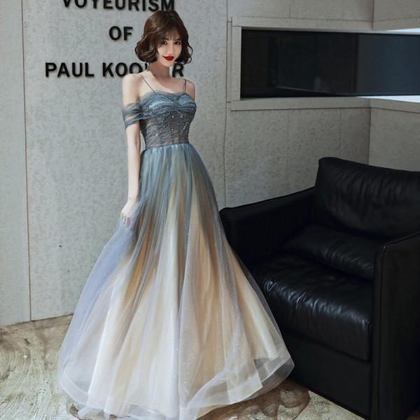 Gradient Shiny Tulle Straps Long Fromal Dress, Sweetheart A-line Tulle Prom Dress Party Dress