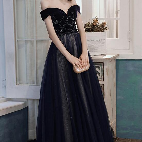 Gorgeous Black Off Shoulder Tulle and Velvet Beaded Long Party Dress, A-line Sweetheart Prom Dress