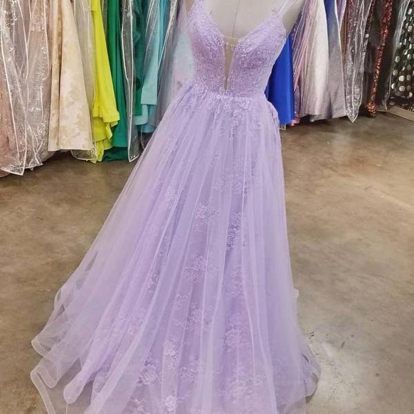 Light Purple Lace V-neckline Straps Long Party Dress, Tulle Evening Dress Formal Dress