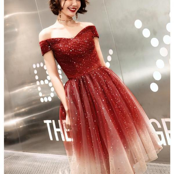 Lovely Red Gradient Off Shoulder Tulle Wedding Party Dress, Cute Short Prom Dress Homecoming Dress